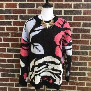 H&M Large Floral Design Oversize Scoopneck Sweater